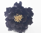 Black and Gold Open Peony Sugar Flower for wedding cake toppers and gumpaste decorations, birthday cakes, modern brides, bridal showers
