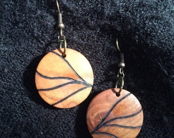 Wooden Earrings, Lightweight Round Dangle Earring, Wood Burned, One of A Kind, Hypoallergenic, Nickel Free - Abstract