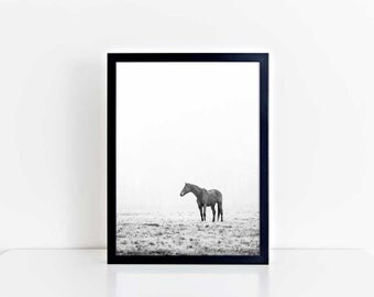 Horse Wall Art, Horse Print, Horse Photo, Gift for Horse Lover, Horse Art, Minimalist, Black and White, Horse Photography, Black Friday Sale