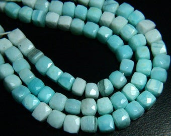 """8.50"""" Full Strand Natural Blue Opal Faceted Cube Beads 8mm to 9mm Cube Shape Blue Opal Gemstone Beads Strand Faceted Briolettes"""