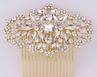 Bridal Hair Comb Gold, Wedding Hair Comb,art Deco Wedding Hair Accessories, Wedding Headpiece, Crystal Hair Comb