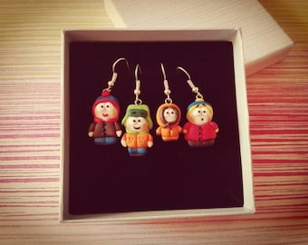 A pair of earrings from the series South Park with Stan Marsh, Kenny McCormick, Kyle Broflovski and Eric Cartman in fimo. Of polymer clay earrings
