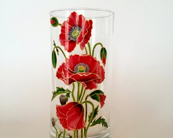 Birthday Gift for her Hand Painted Glass Vase Home Decor Room Decoration Housewarming Gift Flower Vase Centerpiece Floral Design Red Poppies