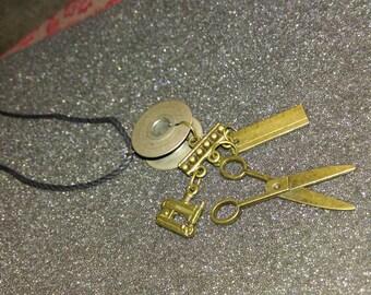 Sewing Kit Bobbin Necklace