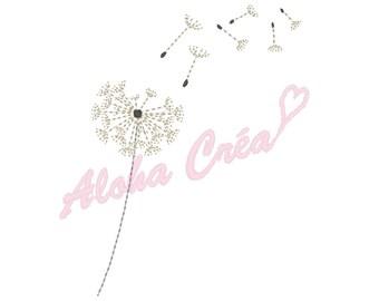 Machine Embroidery Design  flying dandelion - Instant Digital Download
