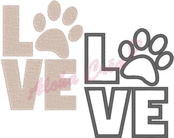 Machine Embroidery Designs applique and filled Love paw dog (2 models-8 sizes each) - Instant Digital Download
