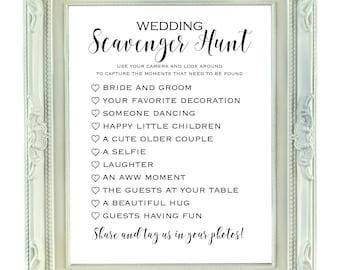 Wedding Scavenger Hunt, 8x10 & 8.5x11 Instant Download, Printable Wedding Sign, Printable Bridal Scavenger Hunt, Wedding I Spy Game,
