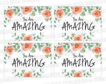You Are Amazing Thank You Cards (Blank Back for Hand Written Message) Digital Download