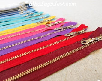 "YKK Silver Brass Metal Zipper with Donut Pull (locking). 30cm/12"" Closed-Ended. 17 Colours. Aussie Seller. Fast Post"