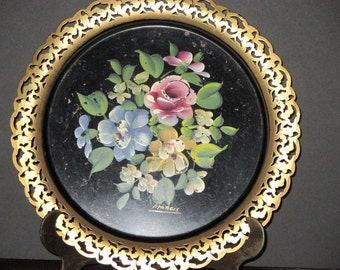 Round Toleware Floral Tray-1950s-Cabin, Cottage, Porch, Guest Room
