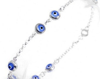 Sterling Silver Two by Two Evil Eye Bracelet