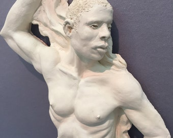 Muscular Male Wall Sculpture / Erotic Wall Art / Naked Masculine Male Statue / Sensual Gay Art / Penis Sculpture / Nude Endowed Male Statue