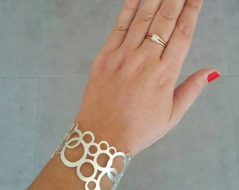 Silver Bracelet, Sterling Silver Bracelet, Circle Braclete,  Silver Cuff, Wedding Jewellery, Bridal Jewelry, Gift For Her, By Hila Assa