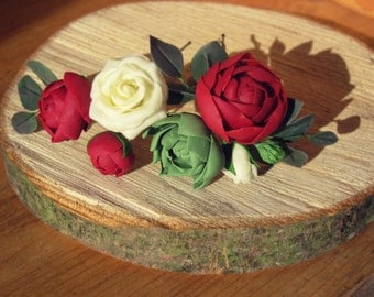 Burgundy rose, bridal hair pin, bridal red pin, succulent pins, bridal flower pin, wedding hair pin, rose ivory, cold porcelain, peony-rose