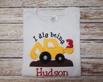 CONSTRUCTION BIRTHDAY Shirt; Boy's Birthday shirt; 1st Birthday; 2nd Birthday; 3rd Birthday; 4th Birthday; 5th Birthday shirt; SHIPS 3-5 day