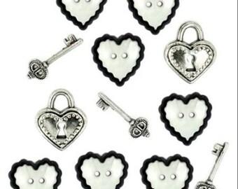 SET of 12 Love Story buttons / Novelty buttons/Heart Buttons/Locket Buttons/Key Embellishments/shank buttons/Embellishments