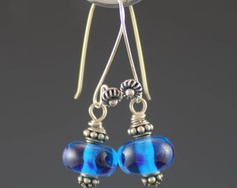 Transparent Blue, Artisan Earrings, Lampwork Glass Beads, Sterling Silver, Tammie Mabe, Handmade Jewelry, USA, Gift for Her, Made in Texas