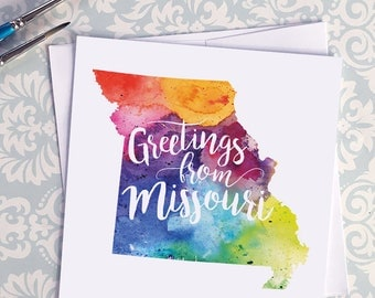 Missouri Watercolor Map Greeting Card, Greetings from Missouri Hand Lettered Text, Gift, Postcard, Giclée Print, Map Art, Choice of 5 Colors