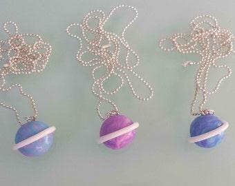 Mini pastel planet necklace