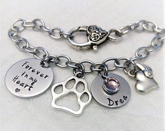 Personalized Pet Memorial Bracelet, Pet Memorial Jewelry, Memorial Dog Bracelet, In Memory of Gift, Remembrance Jewelry, Pet Remembrance