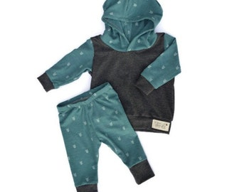 Baby and Toddler Hoodie Outfit ~ Teal and Gray with Arrows