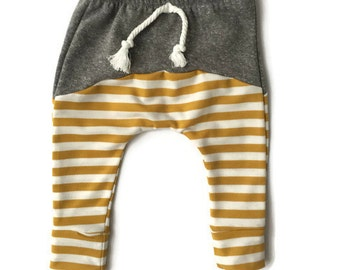 Baby Toddler Skinny Harems ~ Color block ~ Gray and Mustard Stripe ~ Baby Boy