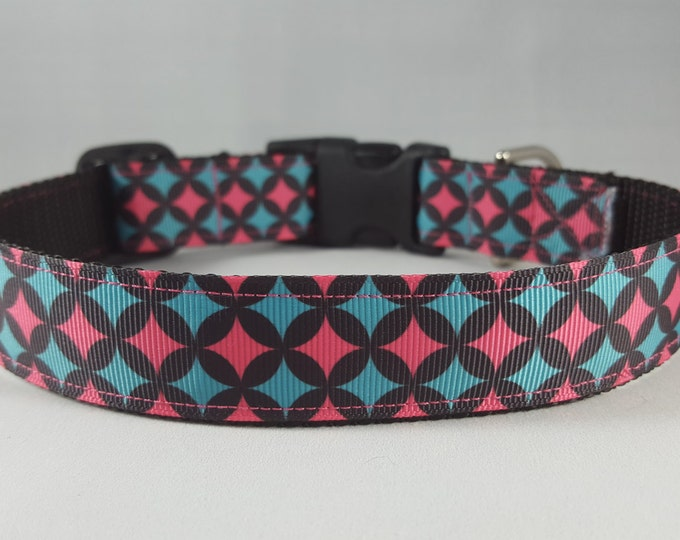 Featured listing image: Blue & pink stars dog collar- Large