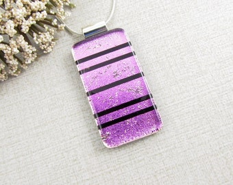 Pink Fused Dichroic Pendant - Pink and Black Striped Fused Glass Necklace - Contemporary Geometric Glass Pendant - Glass Jewelry