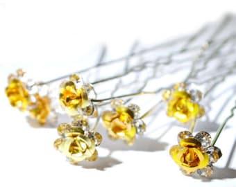 20 Gold Flower Crystal Bridal Wedding Prom Hair Pins Clips 1010