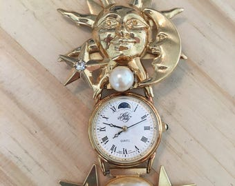 Vintage Kirks Folly Sun and Moon Clock Brooch