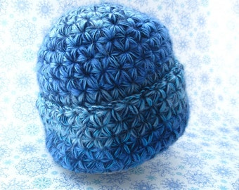 Hand crochet Warm hat, Warm winter hat, chunky hat, blue furry hat, Women Hat