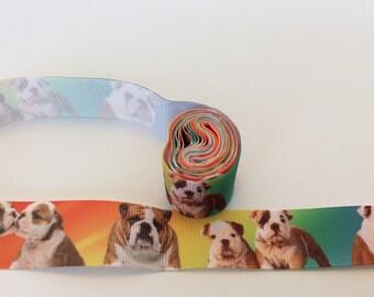 English bulldog Ribbons, bull dogRibbons, british dog ribbons, Puppy Ribbons,  1  inch Grosgrain ribbon, perfect for hairbows, scrapbo