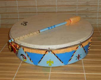 18'' Shaman Drum with stick - blue