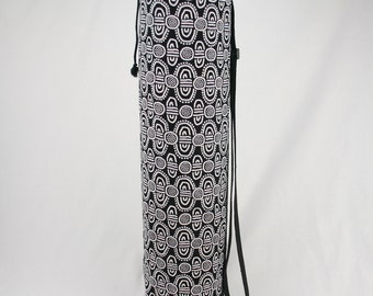 Black& White Yoga/Pilates Mat Bag with Adjustable Carry Strap and Drawstring