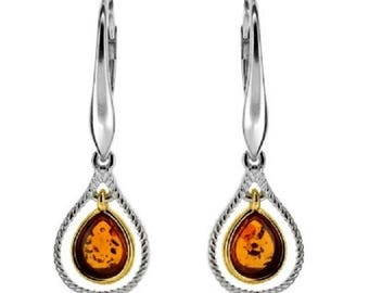 Small drop of cognac amber on vermeil and rhodium silver 925