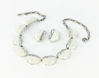 60s White Lucite Necklace Set | Coro