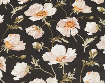 Motif Vintage Wallpaper Floral Black White Gold