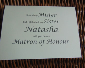 Personalised 'Will you be my Matron of Honour card', Personalised card, bridesmaid invite, maid of honour, Bridesmaid