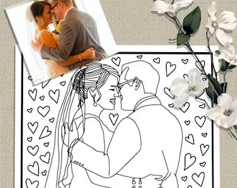 custom coloring page from photo wedding gift personalized wedding favors anniversary printable
