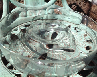 Princess House Hand Blown Etched Crystal Chip n Dip Serving Bowl- Princess House Clear Crystal Chip and Dip Bowl Heritage Pattern 401