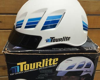 Used Once Extremely Rare Tourlite Vintage 1984 BELL Lightweight Bicycle Helmet Cycling W/box Sz M/L