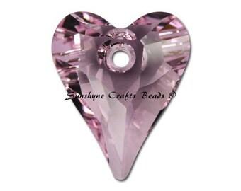 Swarovski Crystal Beads 2 Pcs 6240 ROSALINE Wild Heart Bead Pendant 12x10MM