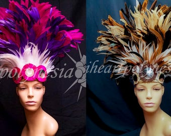 Tahitian costume colored feather head piece
