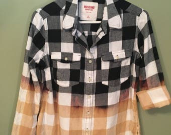 Bleach-dyed, black and white flannel shirt