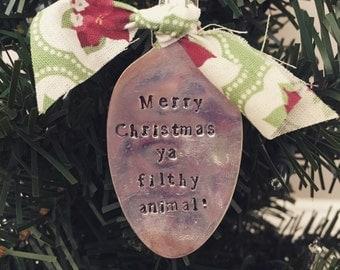 Custom Vintage Spoon Metal Stamped Christmas Ornament