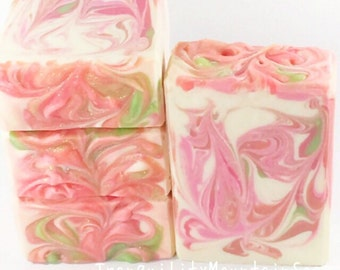 Handmade Cold Process Soap Feminine Soap Floral Soap Artisan Soap Bath And Body Gift For Her Pink Glitter Soap STRAWBERRY MAGNOLIA