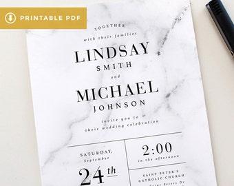 Printable Modern Marble Wedding Invitation Set   Marble Wedding Invitation Template, Modern Wedding Invitations DIY, Marble Invitation PDF