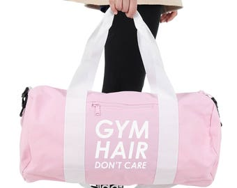 Gym Hair Don't Care Gym Bag Duffel Sports Yoga Weightlifting Girl Power Spin