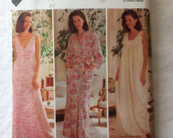 Vintage 1991 UNCUT Butterick 5812 Misses Size Large and Extra Large Robe and Nightgown Pattern