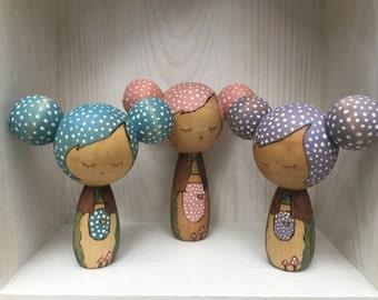 Woodland Kokeshi Dolls